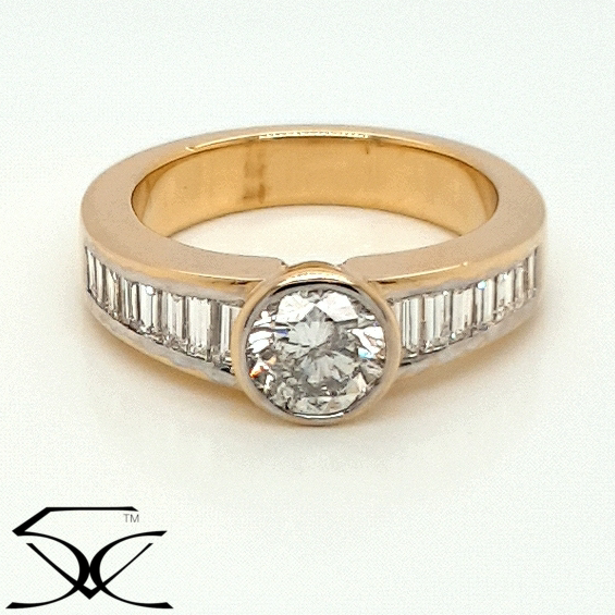 Diamond Engagement Ring with straight Baguette