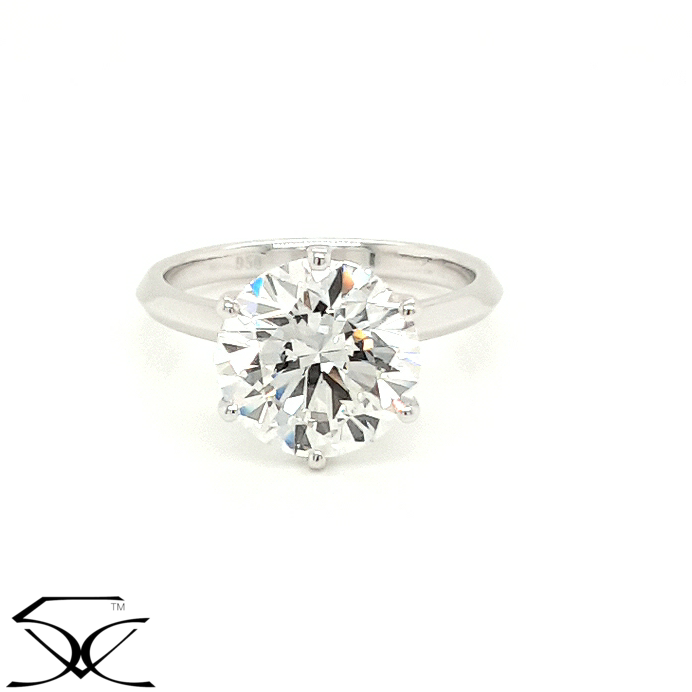 Diamond Engagement Ring Six Claws Knife Edge Band