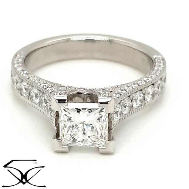 Diamond Engagement Ring with Mill Grain